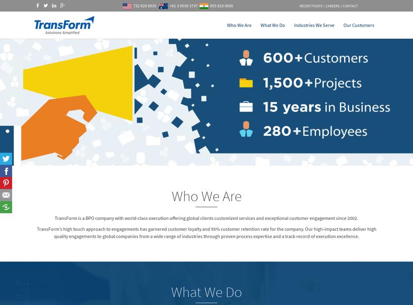 TransForm Solution Pvt Ltd homepage screenshot