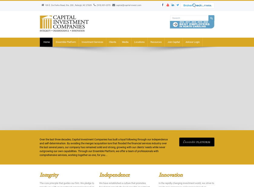 Capital Investment Companies homepage screenshot