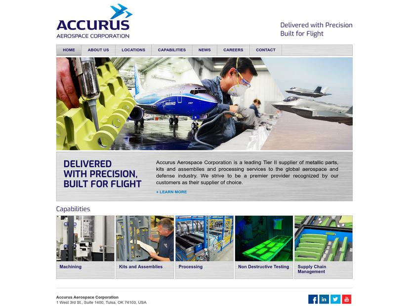 Accurus Aerospace Corporation homepage screenshot