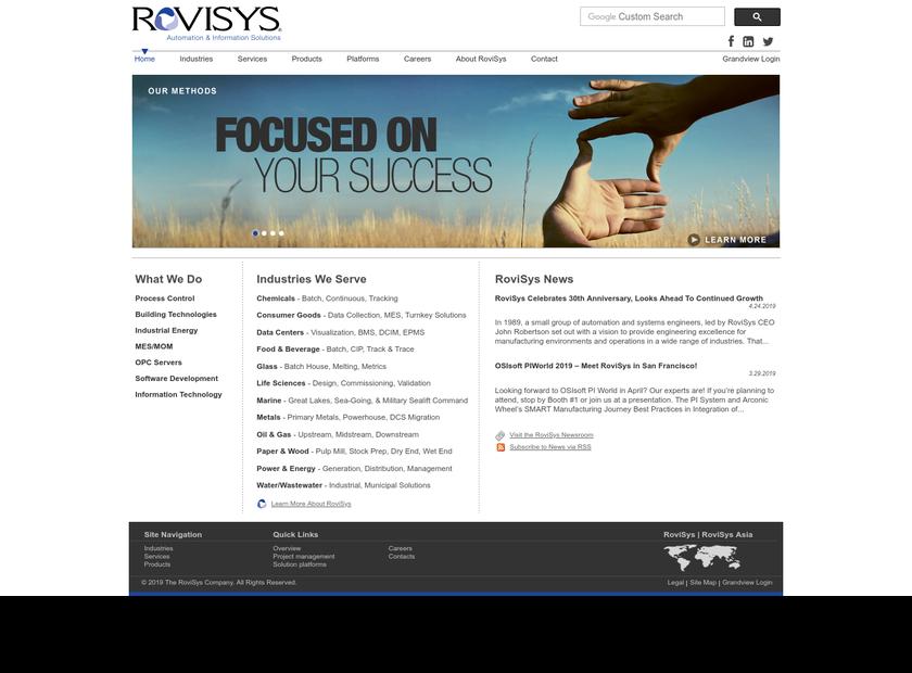 The RoviSys Company homepage screenshot