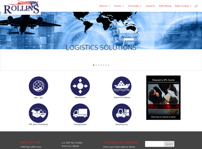 Rollins 3PL Company homepage screenshot