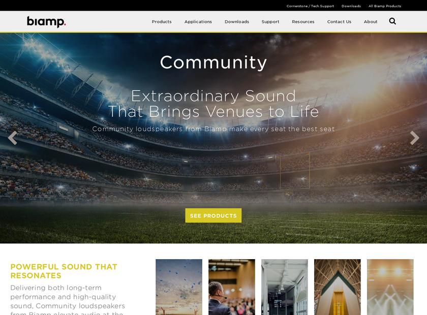 Community Professional Loudspeakers homepage screenshot