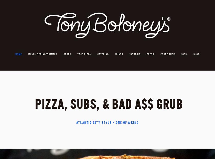 Tony Boloney's homepage screenshot