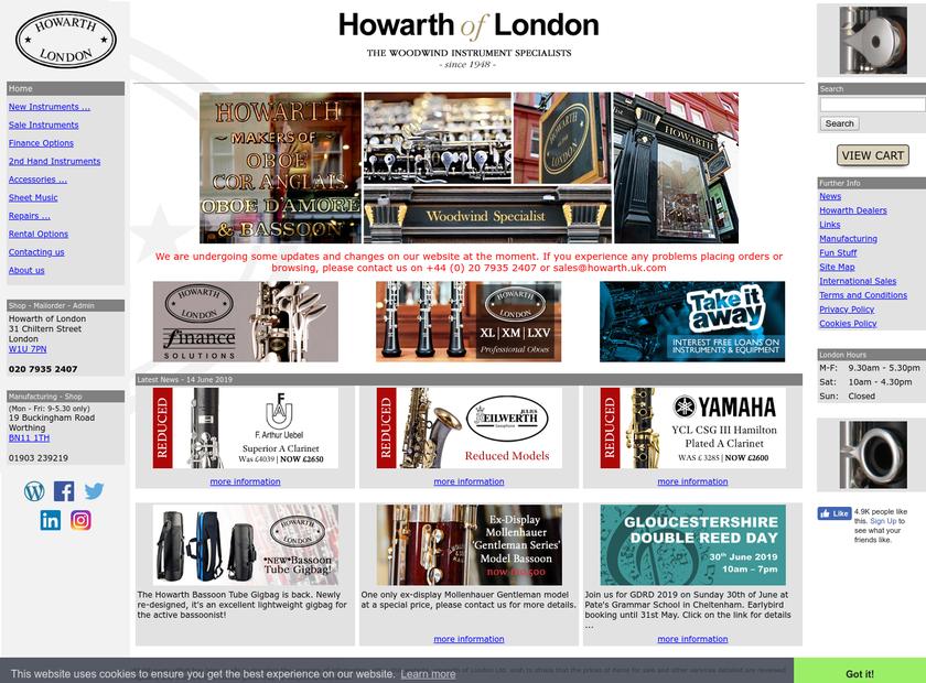 Howarth homepage screenshot