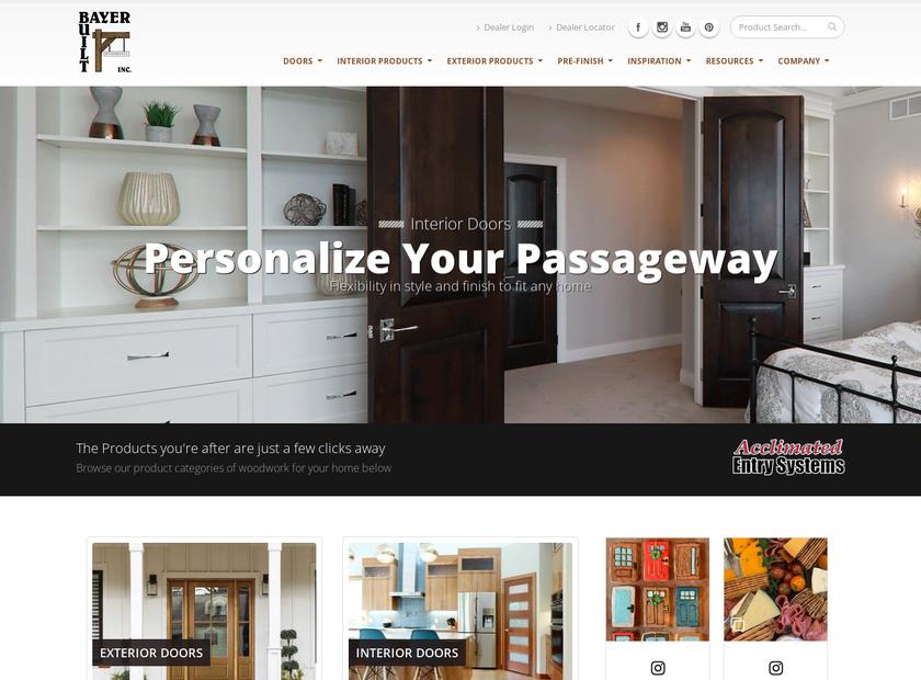 Bayer Built Woodworks Inc homepage screenshot