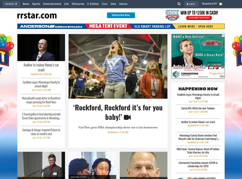 Rockford Register Star homepage screenshot