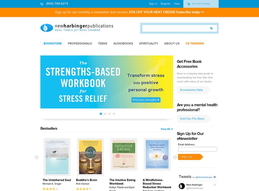 New Harbinger Publications , Inc. homepage screenshot