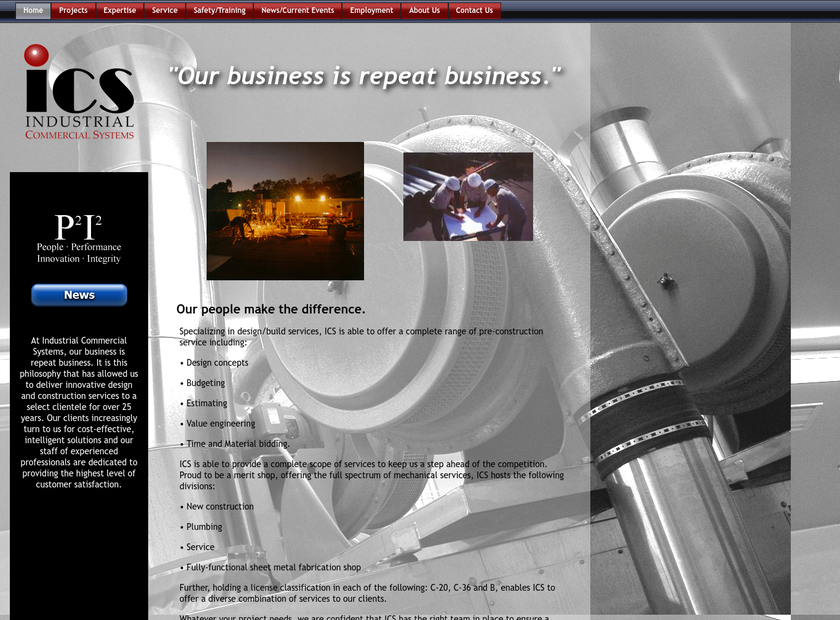 Industrial Commercial Systems, Inc. homepage screenshot