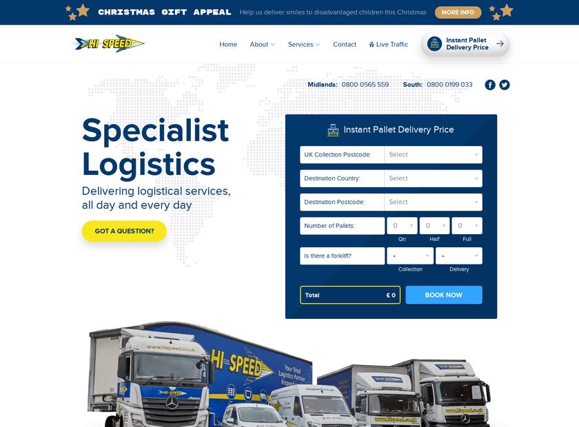 Hi-Speed Services Ltd homepage screenshot