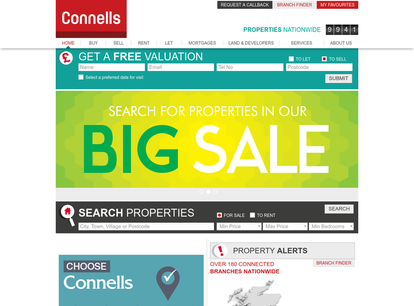 Connells Limited homepage screenshot