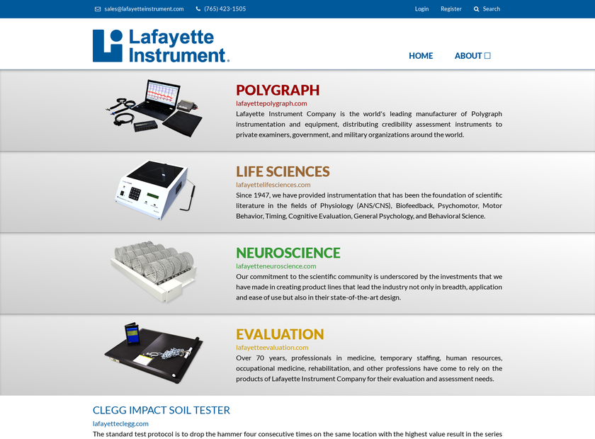 Lafayette Instrument Company homepage screenshot