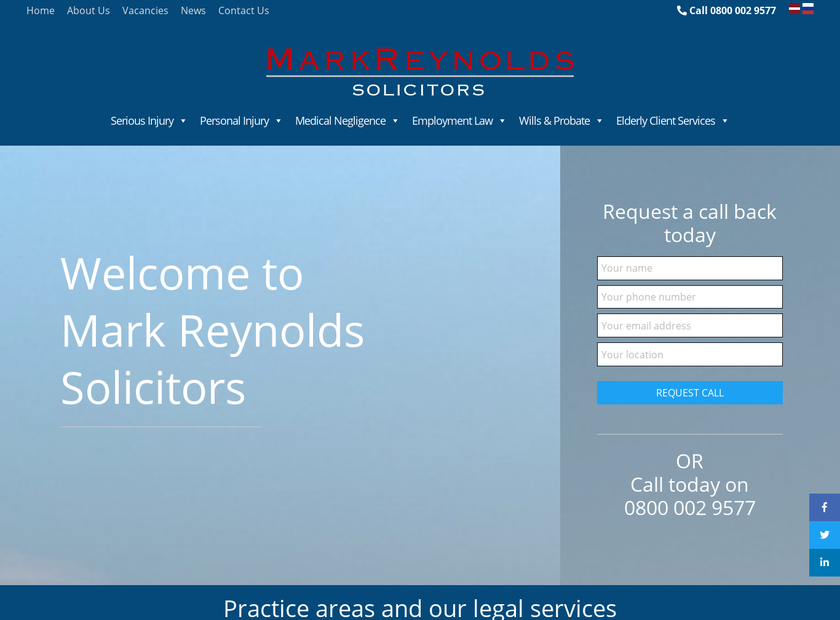 Mark Reynolds Solicitors Limited homepage screenshot