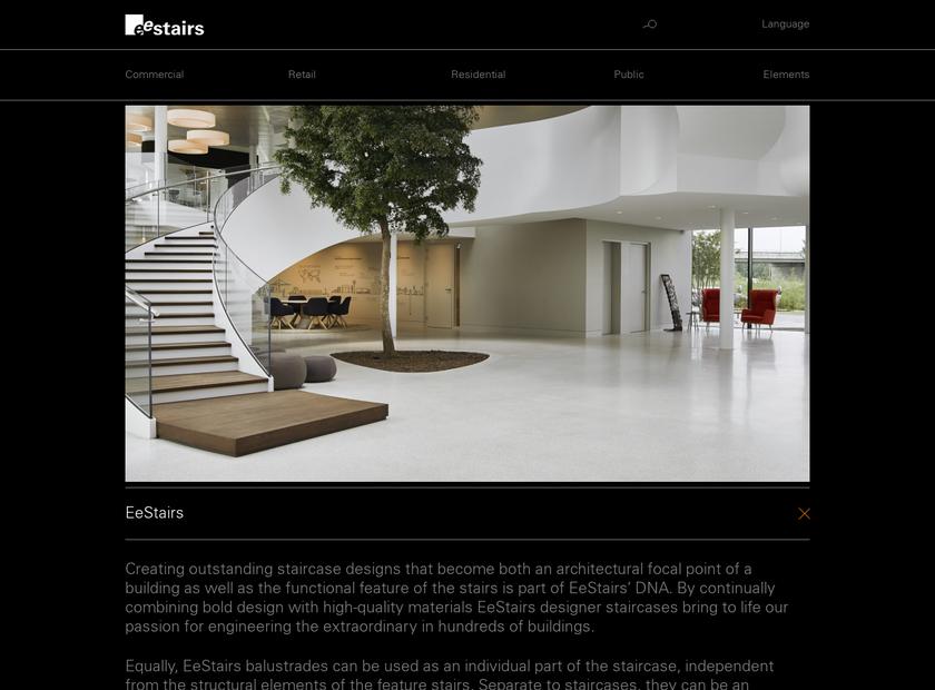 EeStairs homepage screenshot