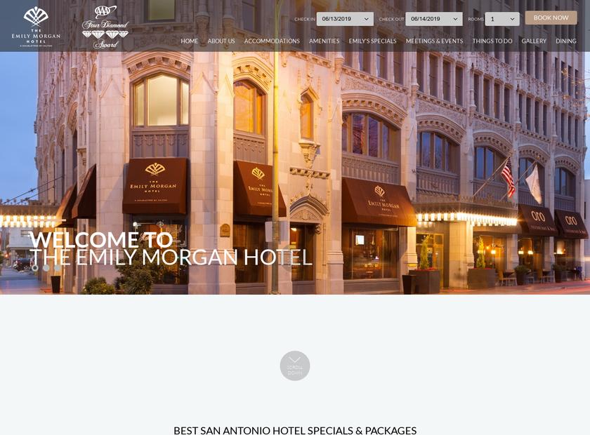 Emily Morgan Hotel homepage screenshot