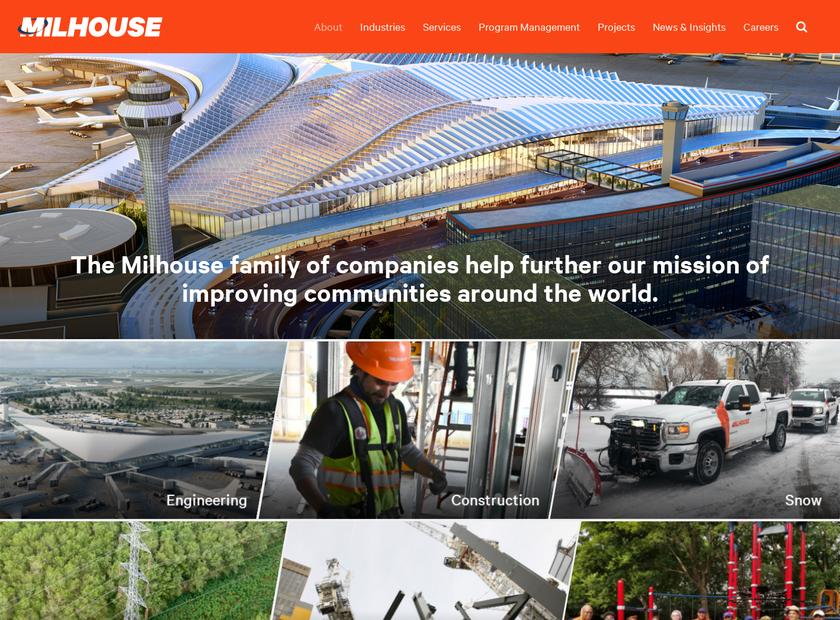 Milhouse Engineering and Construction , Inc. homepage screenshot