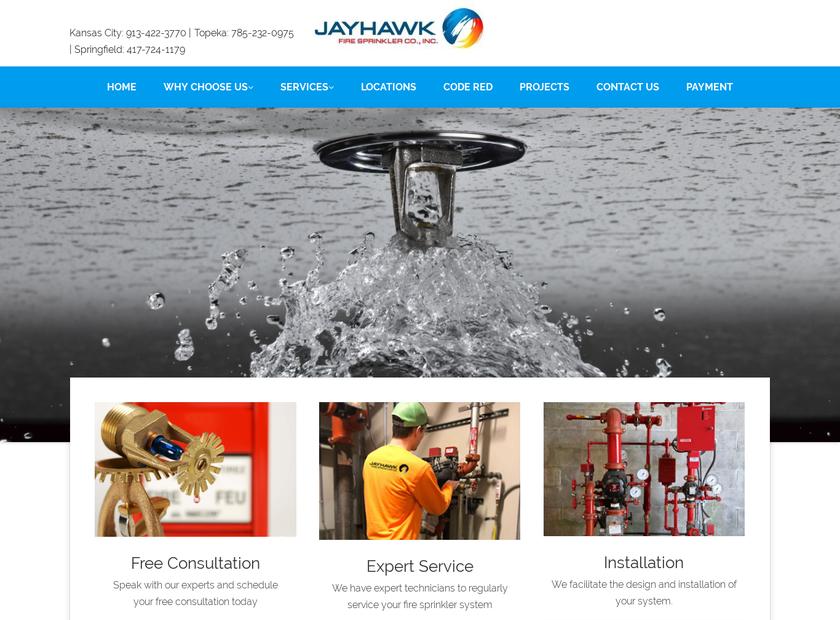 Jayhawk Fire Sprinkler Co. Inc homepage screenshot