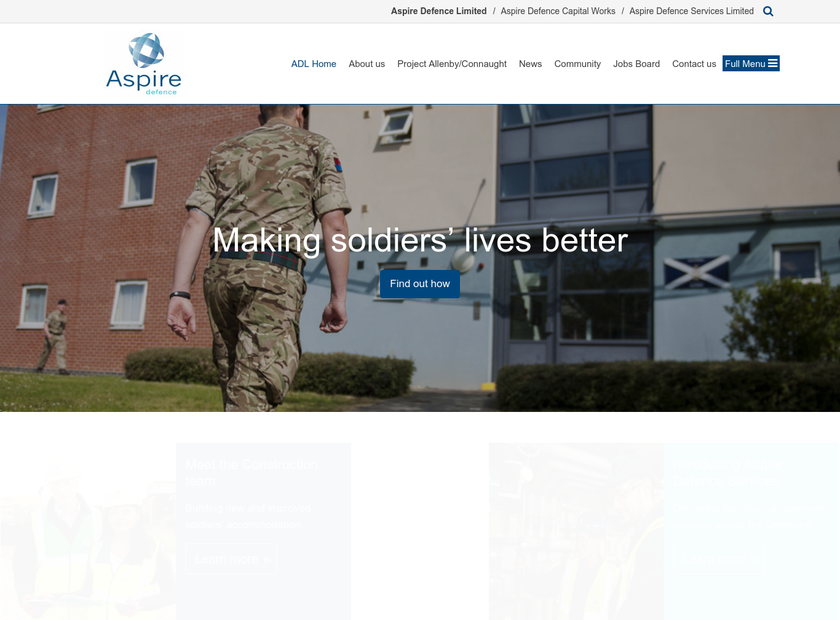 Aspire Defence Ltd homepage screenshot