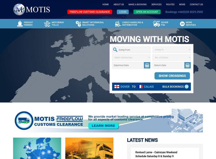 Motis Ireland Ltd homepage screenshot