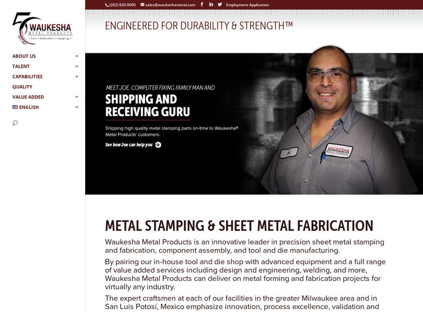 Waukesha Metal Products homepage screenshot
