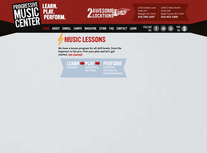 Progressive Music Center homepage screenshot