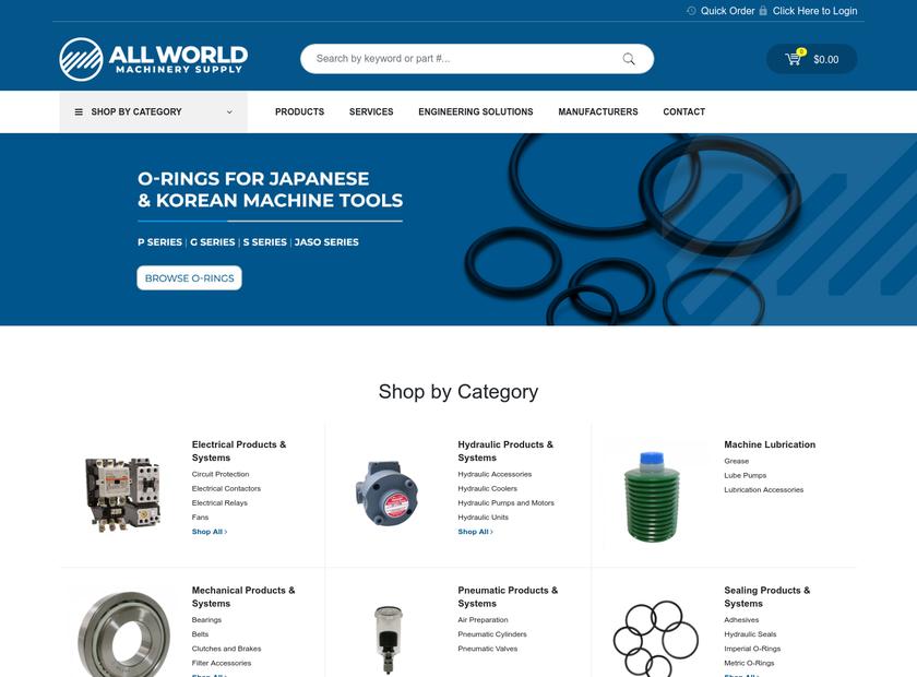 All World Machinery Supply Inc homepage screenshot
