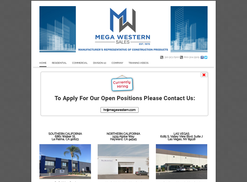 Mega Western Sales , Inc. homepage screenshot