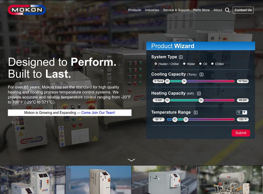 Mokon homepage screenshot