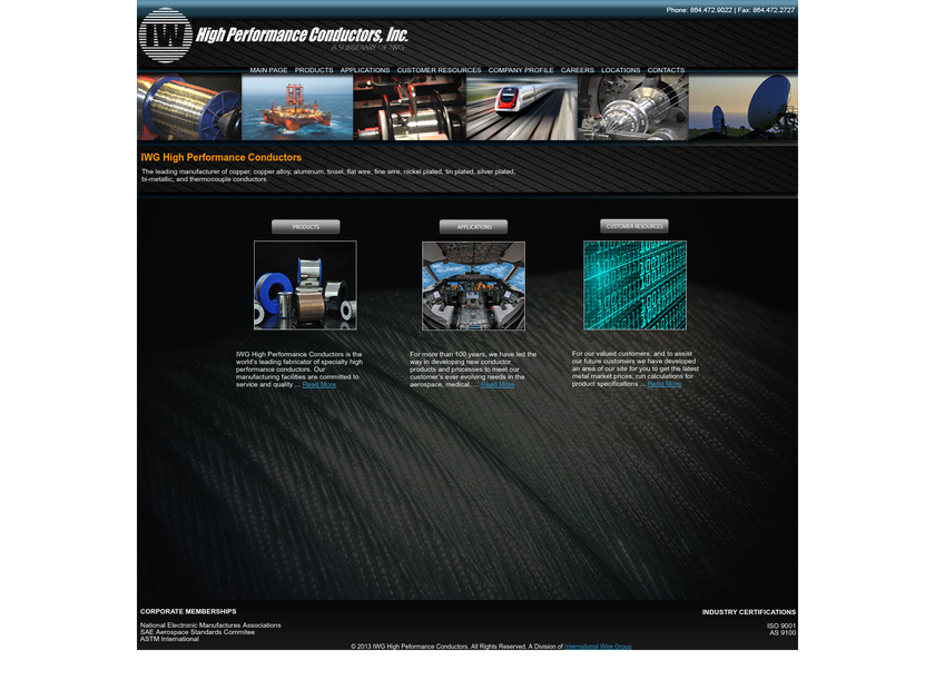 IWG High Performance Conductors, Inc. homepage screenshot