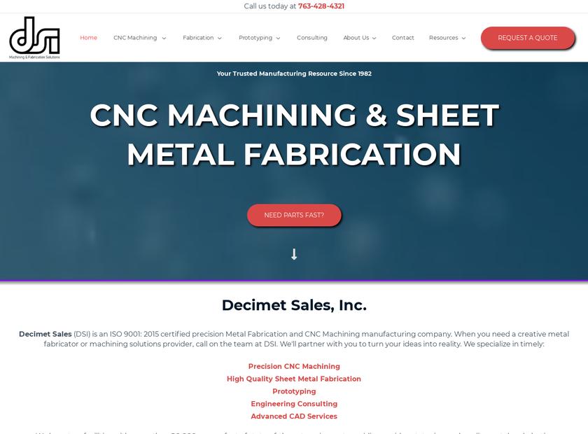 Decimet Sales Inc homepage screenshot
