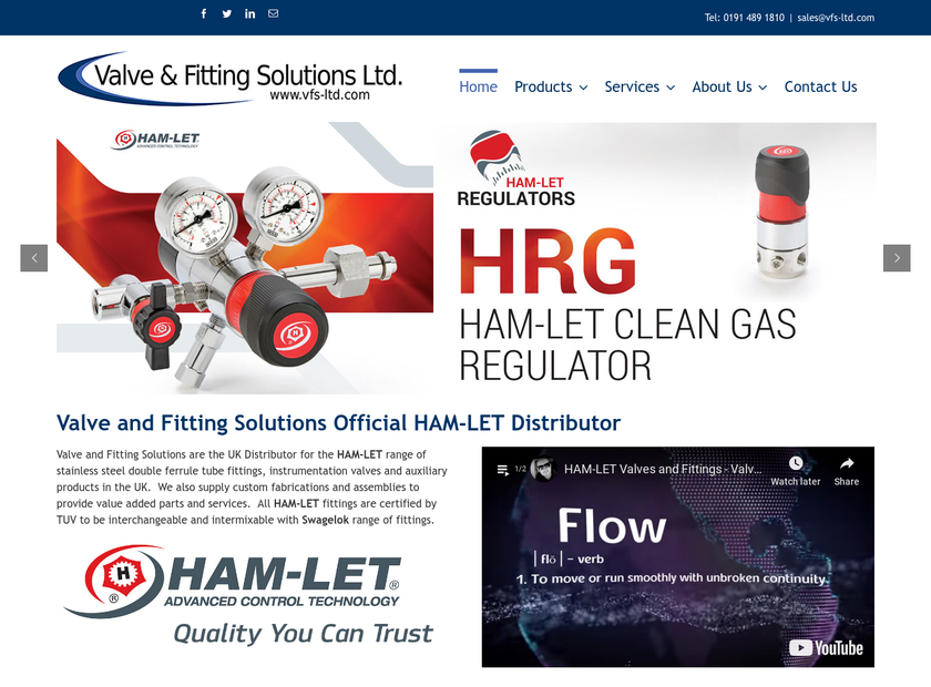 Valve & Fitting Solutions Ltd homepage screenshot