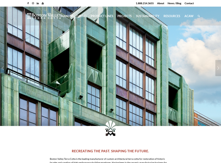 Boston Valley Terra Cotta Inc. homepage screenshot