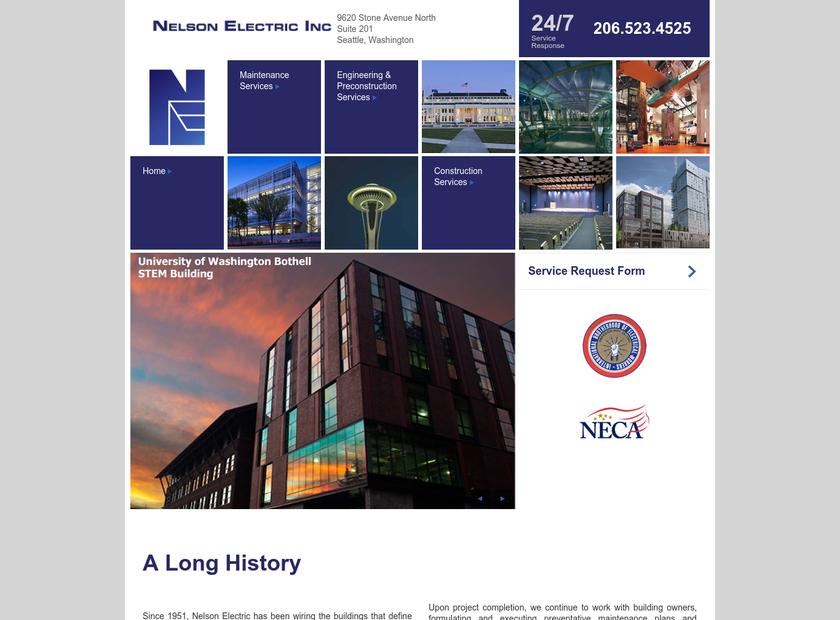 Nelson Electric Inc homepage screenshot