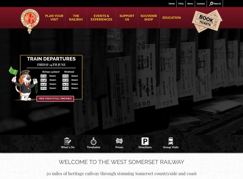 West Somerset Railway Plc homepage screenshot