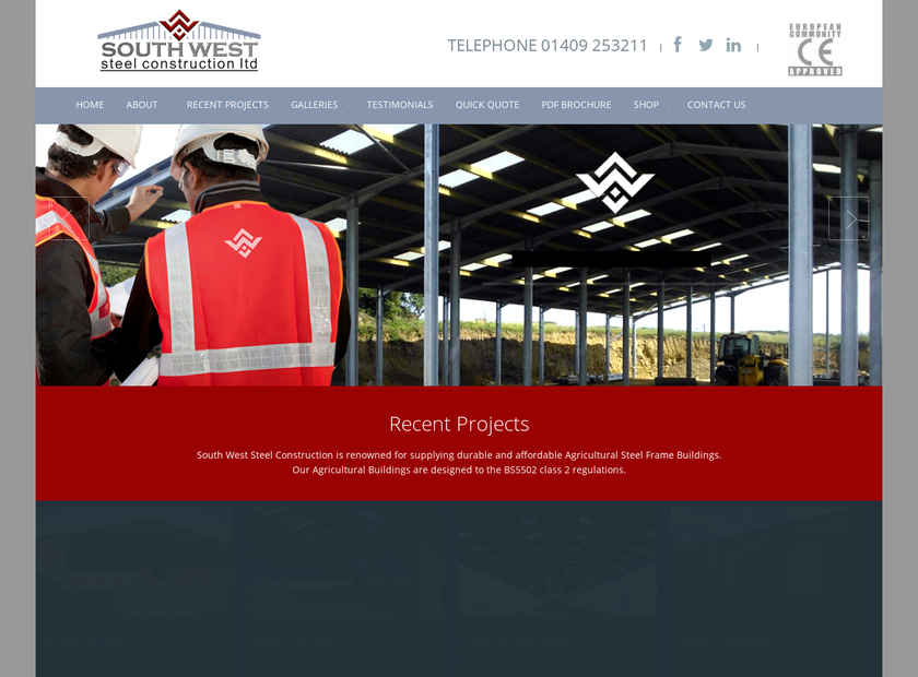 South West Steel Construction Ltd homepage screenshot