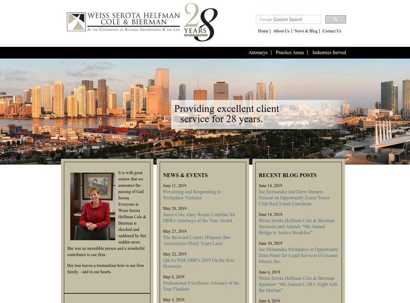 Weiss Serota Helfman Cole & Bierman , P.L homepage screenshot