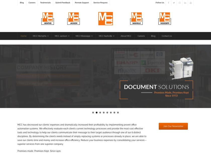 Memphis Communications Corporation homepage screenshot