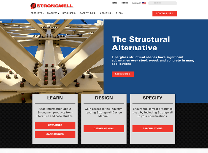 Strongwell Corporation homepage screenshot