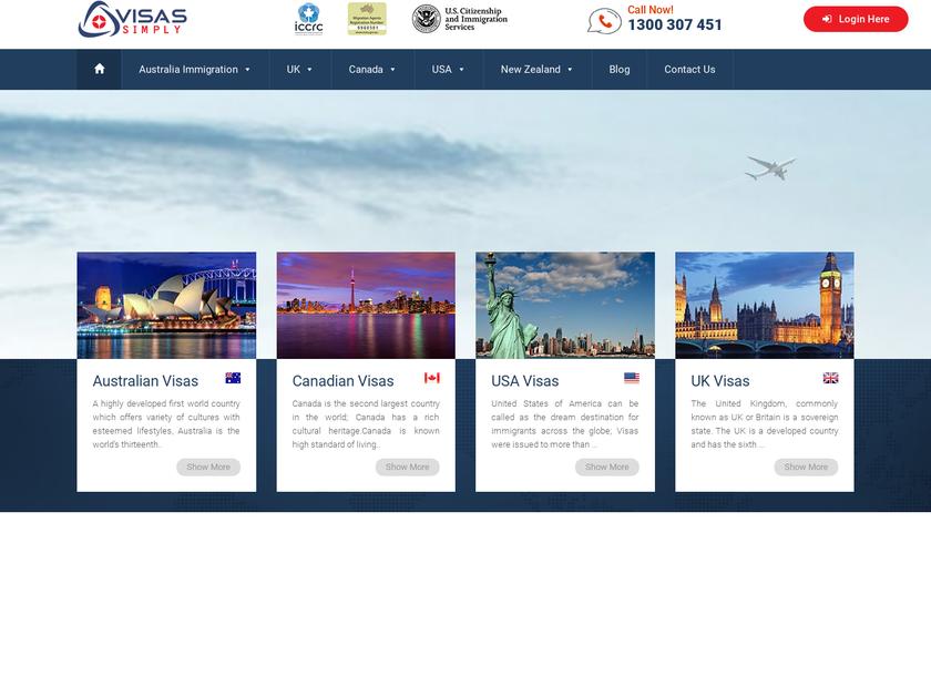Visas Simply Pty. Ltd homepage screenshot