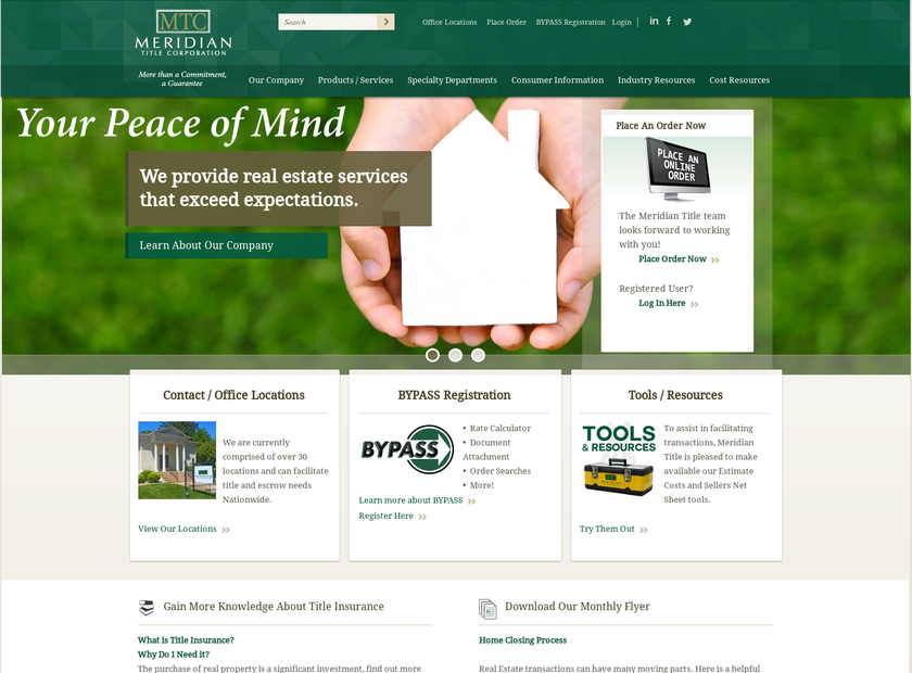 Meridian Title Corporation homepage screenshot