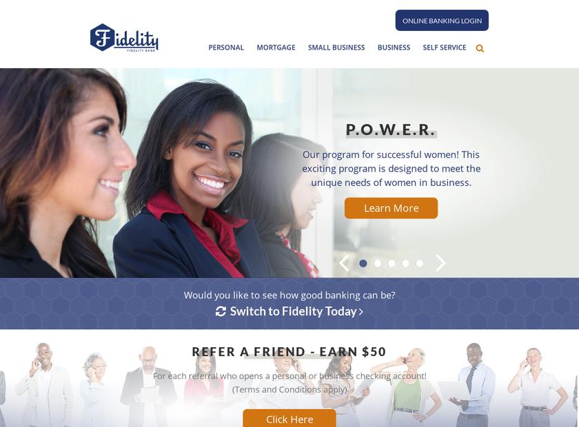 Fidelity Homestead Savings Bank homepage screenshot