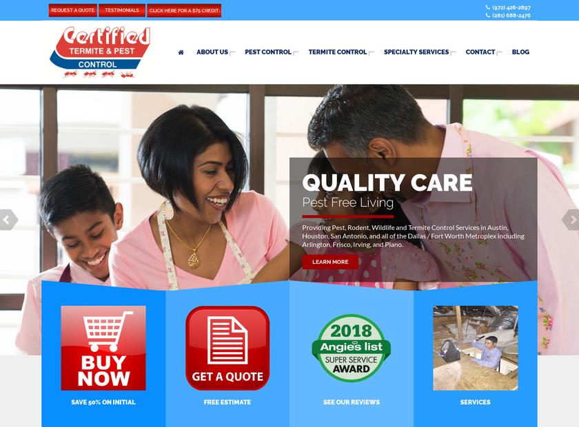 Certified Termite homepage screenshot