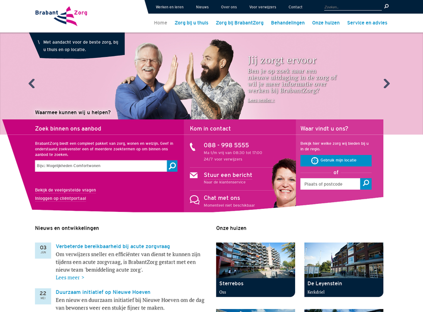 BrabantZorg homepage screenshot
