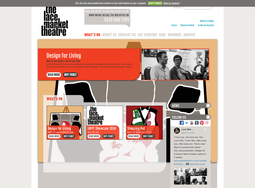 The Lace Market Theatre Trust Ltd homepage screenshot