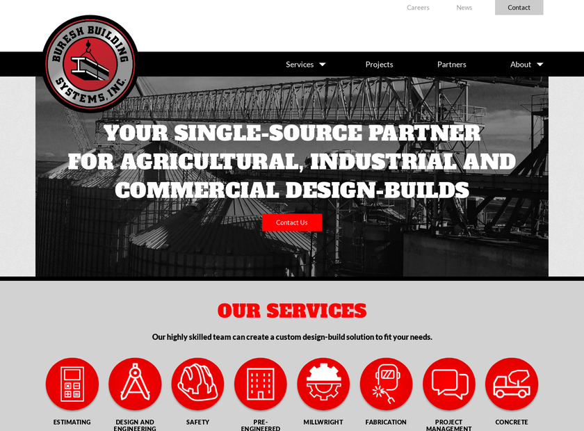 Buresh Building Systems Inc homepage screenshot