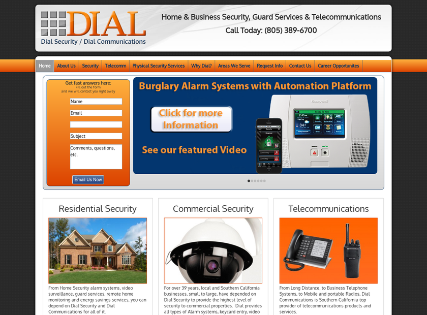 Dial Security/ Dial Communications homepage screenshot