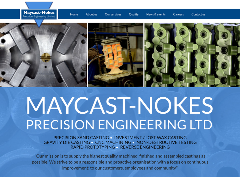 Maycast-Nokes Precision Engineering Ltd homepage screenshot