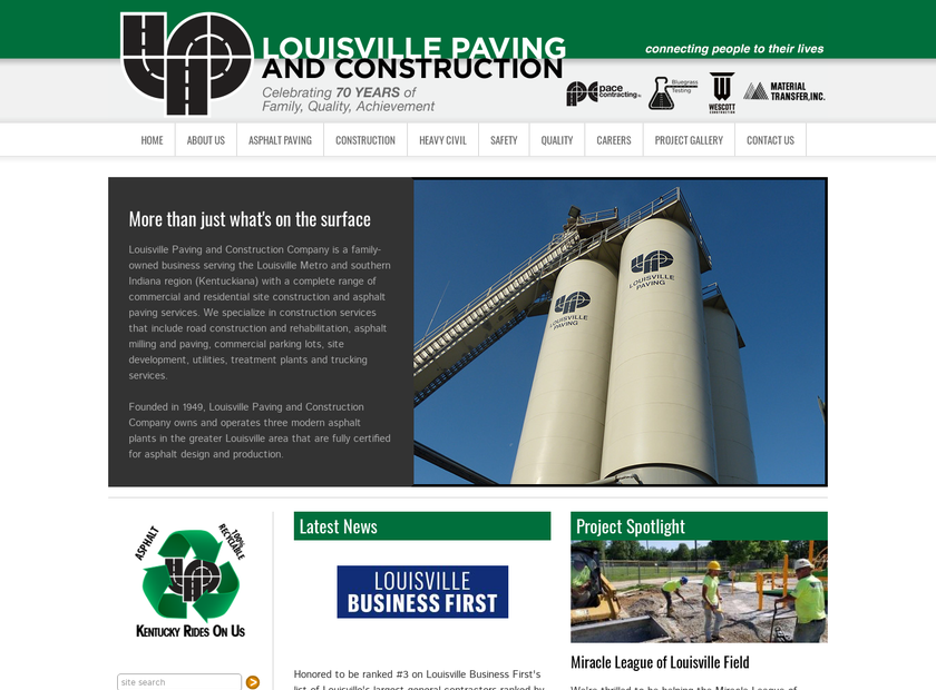 Louisville Paving Company homepage screenshot