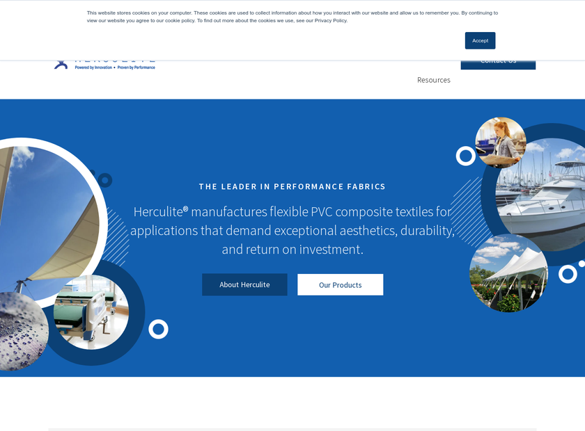 Herculite Products Inc homepage screenshot