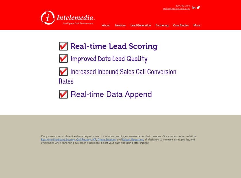 Intelemedia Communications Inc homepage screenshot