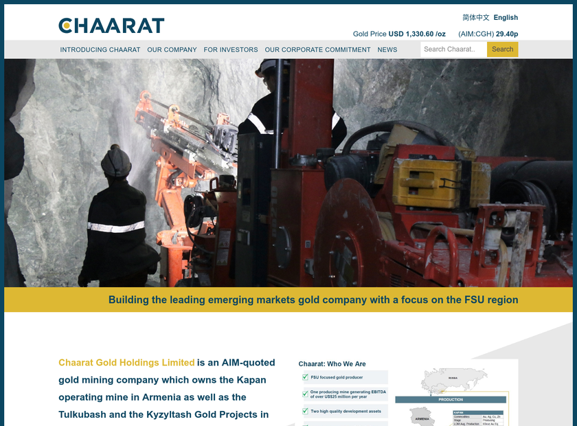Chaarat Gold Holdings Limited homepage screenshot